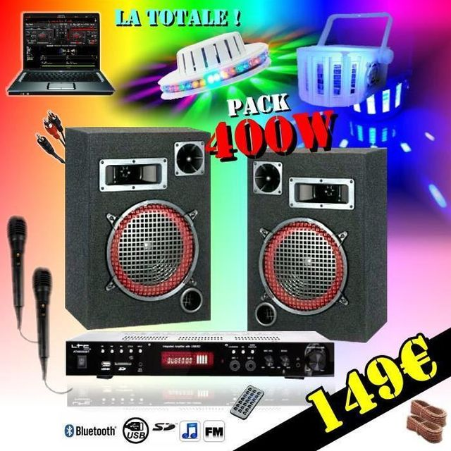 Ibiza Sound Karaoke light led pack sono 400w - ampli mp3 usb - enceintes - cable pc - 2 jeux lumières pa dj led sound