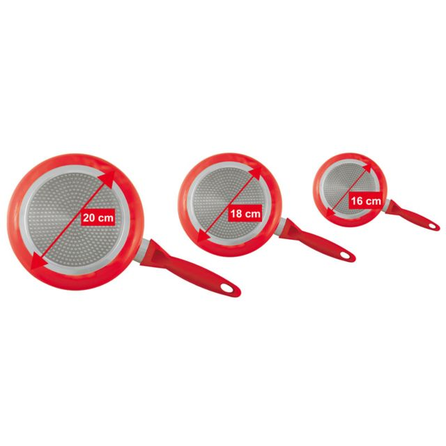 Kitchen Artist - Set de 3 casseroles rouges revêtement aspect pierre Men125R