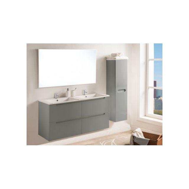 Marque Generique Ensemble Selita - meubles de salle de bain avec double vasque et miroir - Laqué gris