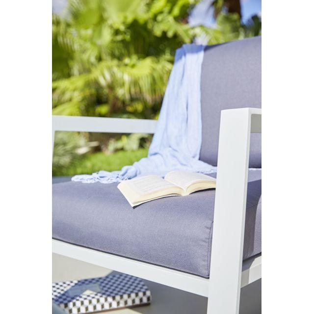 HYBA - Salon bas de jardin URBAN - Aluminium et textile - Gris