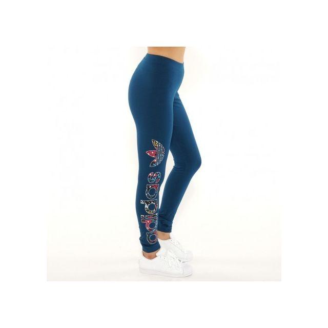 Adidas originals - Legging Linear Bleu Femme Adidas Multicouleur - pas cher  Achat   Vente Pantalon femme - RueDuCommerce 7da82acdfba