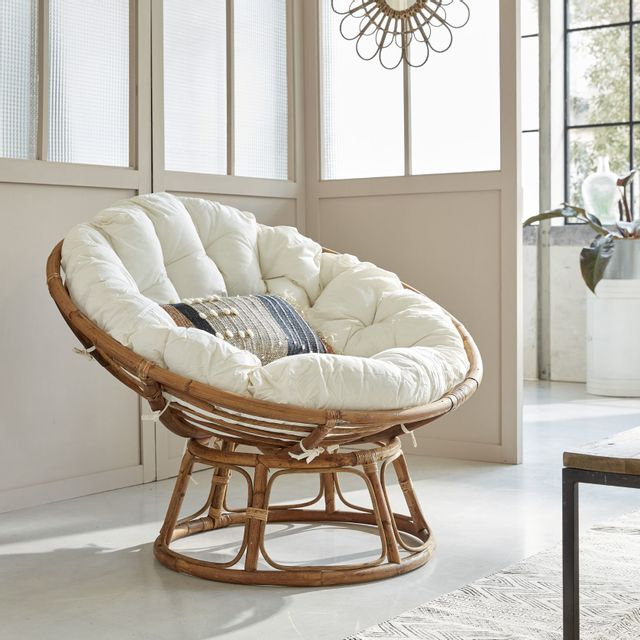 Made In Meubles - Fauteuil rond en rotin style loveuse avec coussin ...