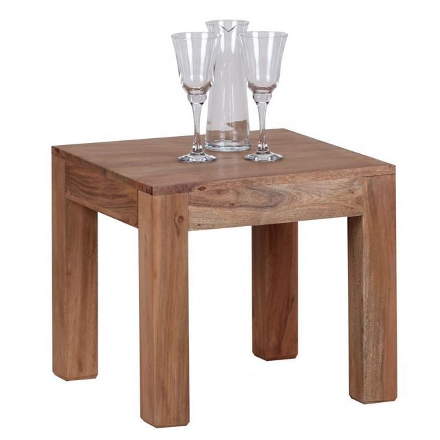 COMFORIUM Table basse contemporaine 45 x 45 cm en bois massif acacia
