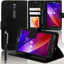 Vcomp - Housse Coque Etui portefeuille Support Video Livre rabat cuir Pu pour Asus Zenfone 2 Ze550ML/ Ze551ML/ Zenfone 2 Deluxe Ze551ML + stylet - Noir