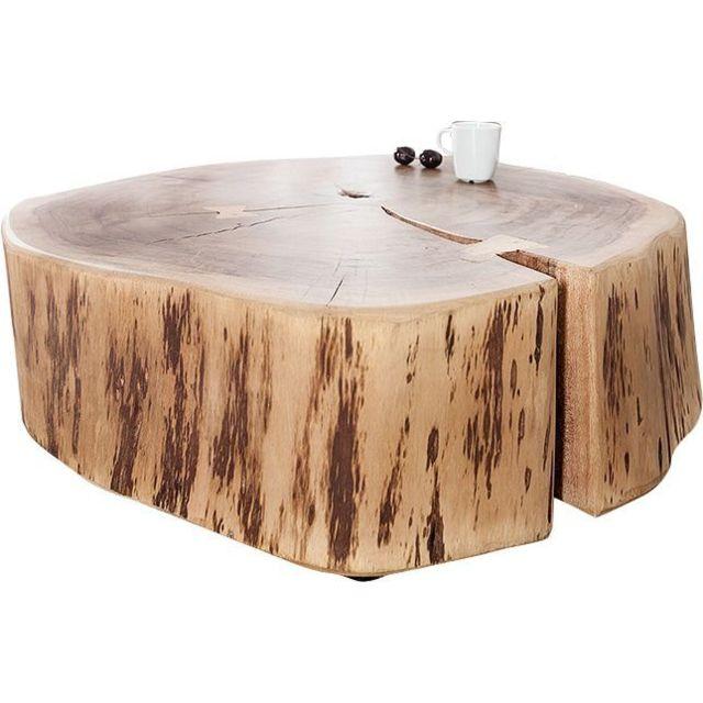 Comforium Table basse 60 cm en bois massif d'acacia avec des roulettes en métal