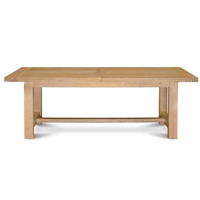 HELLIN - Table extensible MANSART - bois chêne clair massif 90cm x 220cm x 76cm - Non extensible