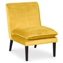 menzzo fauteuil scandinave romeo velours jaune - Fauteuil Scandinave Moutarde