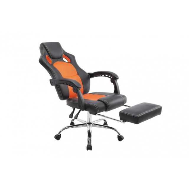 decoshop26 fauteuil de bureau ergonomique avec repose pieds extensible appui t te noir orange. Black Bedroom Furniture Sets. Home Design Ideas