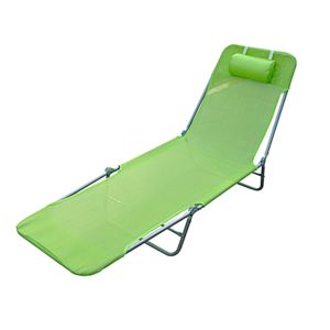 Homcom chaise longue pliante bain de soleil inclinable for Chaise longue de plage pliable