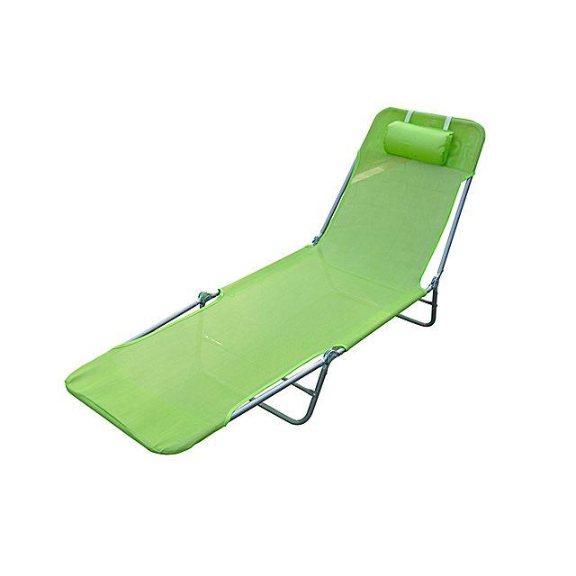 HOMCOM Chaise longue pliante bain de soleil inclinable transat textilene lit jardin plage vert 35