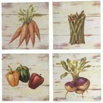 4 Tableaux Cadres en Bois Peint Légumes de Cuisine 20,5x20,5 cm