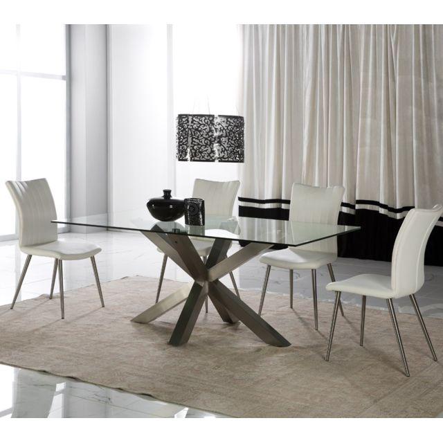 Tousmesmeubles Table de repas Verre - Ushka - L 180 x l 100 x H 75