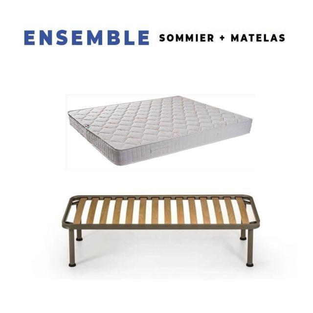 King Of Dreams Matelas Tissu Ignifuge 90x190 + Sommier Démonté + Pieds Offerts - Hauteur 15 cm - Confort Ferme - Mousse Extrêmement Dur