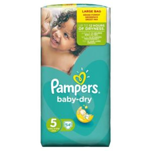 Pampers baby dry taille 5 11 a 25kg 54 couches pas for Pampers couche piscine