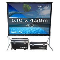 Kimex - Ecran de projection valise 6,10 x 4,58m, format 4:3, Toile Avant + Toile Arrière