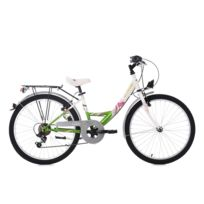 "KS CYCLING - Vélo enfant 24"" Papilio 6 vitesses blanc-vert TC 36 cm"