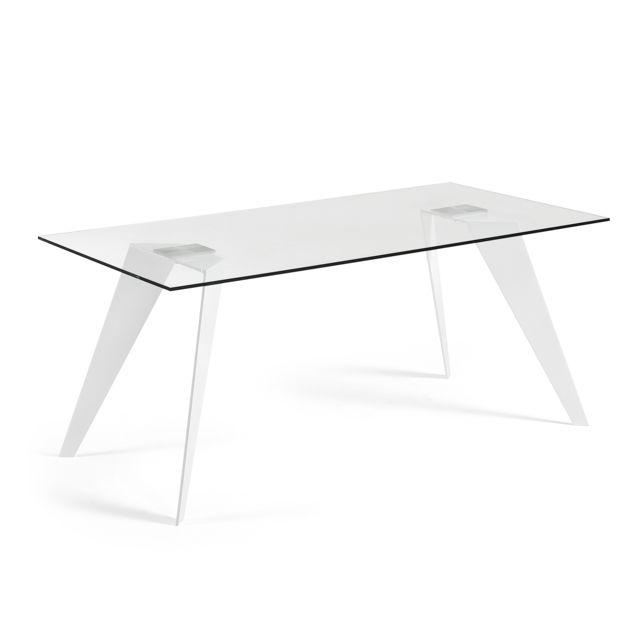 Kavehome Table Koda 180x90 cm, Eopxy blanc et verre