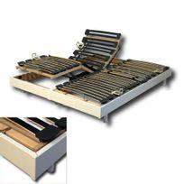 No Name - Ensemble 2 Sommiers relaxation électrique Flexpur 80x200 tête et pied relevable / Blanc