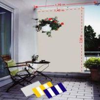 Voile Solaire Verticale Gris Clair Avec 8 Crochets De Guidage En Polyester Anti Uv 230 X 140 Cm