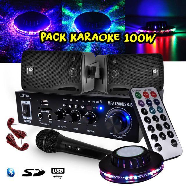 Ltc Audio Karaoke Ampli 100W Bluetooth/SD/USB + 2 Enceintes Hifi + Micro + Jeu de lumière Ovni