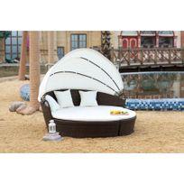 Rocambolesk - Magnifique Salon de jardin Circus : salon de jardin modulable 6/8 pers en résine tressée poly rotin marron