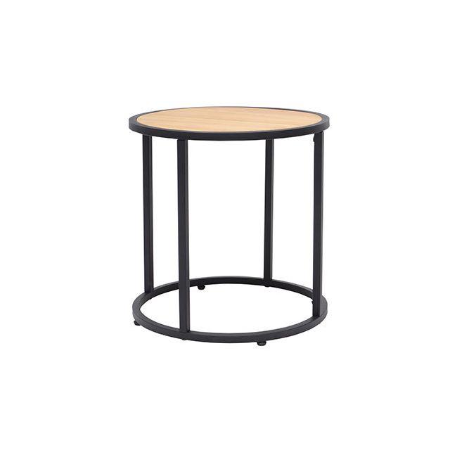 Table basse ronde en pin et métal noir
