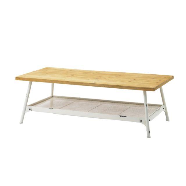 HELLIN Table basse en métal blanc et bois TENERIFE