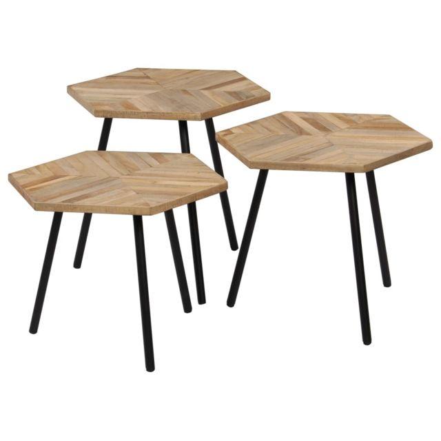 Esthetique Consoles serie Dakar Ensemble de tables basses 3 pcs Hexagonal Teck recyclé