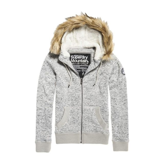 Superdry Sweat à Capuche Storm Zip Fur Fargo Grey Gris