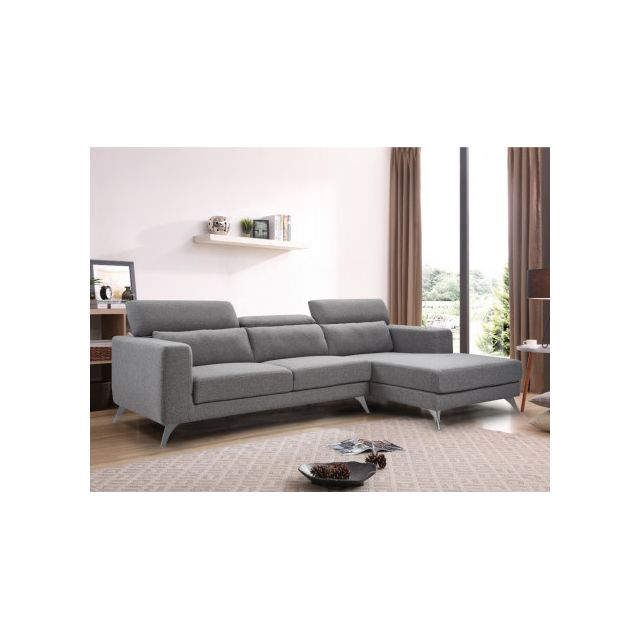 Canapé d'angle en tissu AKWA - Gris - Angle droit