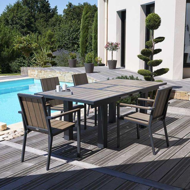 Dcb Garden Table De Jardin Alu Bois Composite 6 8