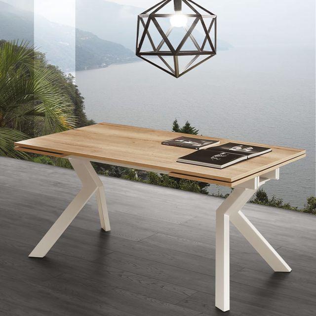 Nouvomeuble Table avec rallonge couleur bois et blanche moderne Esther