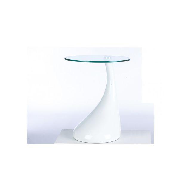 Table d'appoint PEARL III - Plateau verre trempé - Coloris Blanc