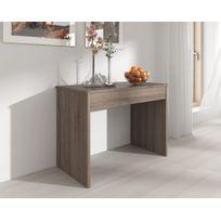 Comfort - Home Innovation - Table de Salle à Manger extensible jusqu'à 301 cm, Chêne Foncé, Dimensions fermée : 90x49x75 cm de hauteur