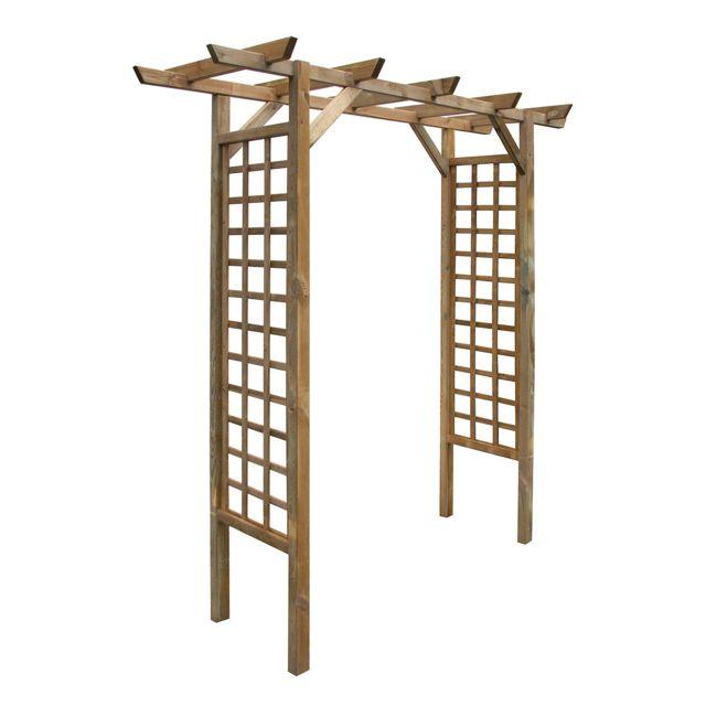 Cemonjardin Arche de jardin droite en bois traité, Primo