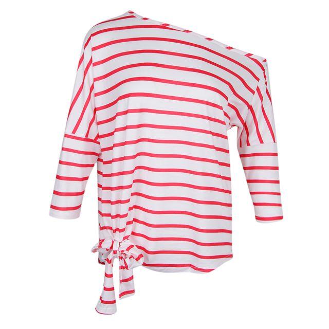 >T-shirt rayé décontracté épaule oblique des femmes avec manches chauve-souris l rouge
