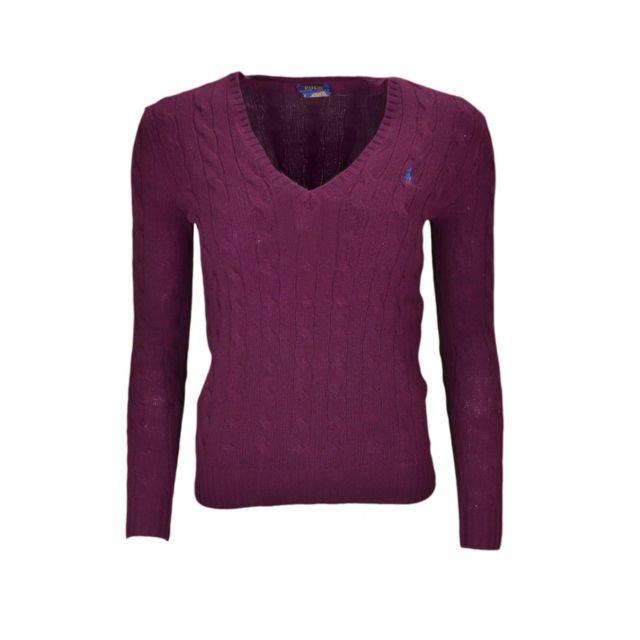 228a0ab69cc Ralph Lauren - Pull col V Kimberly en laine rouge bordeaux pour femme - pas  cher Achat   Vente Pulls femme - RueDuCommerce