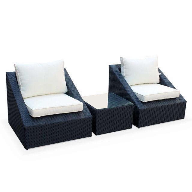 Salon de jardin 2 places - Triangolo - résine tressée noire, coussins  écrus, fauteuils + 1 table basse, empilables