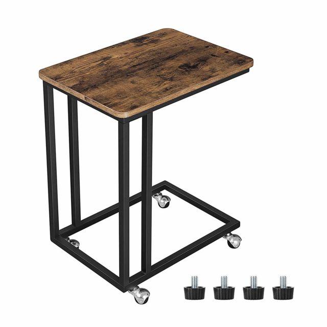 Table D Appoint Table Basse Petite Desserte Mobile Table Anguleuse Pour Tasses De Café Tablette Montage Facile Cadre Métallique Avec Roulettes