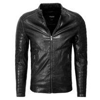 Marque Generique - Veste en cuir coupe ajustée Veste homme 1026 noir