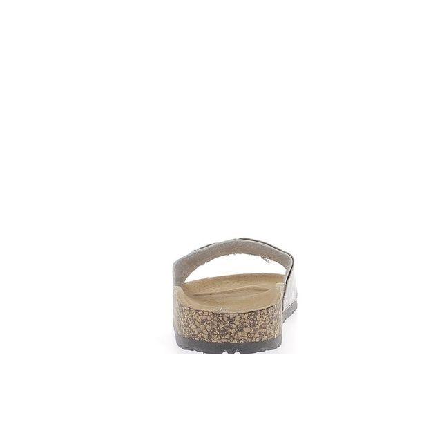 Chaussmoi - Mules blanches mates et serpent à semelle épaisse cuir avec boucle dorée 38