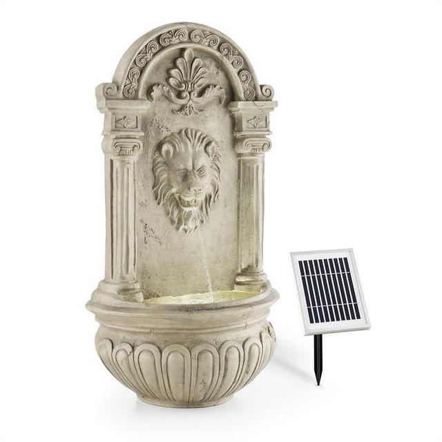 BLUMFELDT Fontaine de jardin murale 2W solaire LED polyrésine - imitation pierre