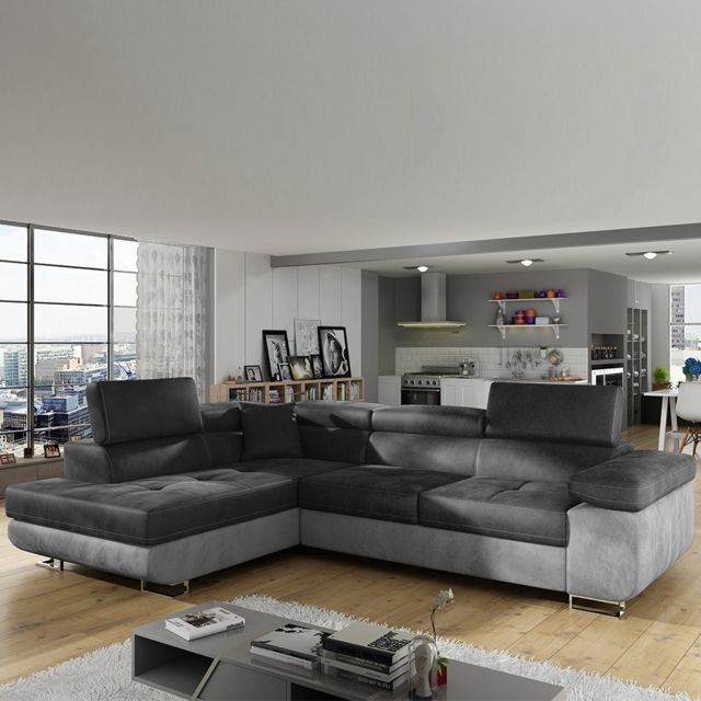 Sofamobili Canapé d'angle gauche gris foncé et gris clair Scott