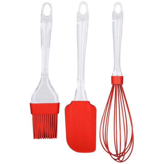 promobo set lot 3 ustensiles de cuisine en silicone fouet p tisserie pinceau et spatule rouge. Black Bedroom Furniture Sets. Home Design Ideas