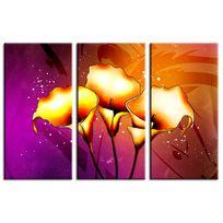 Hexoa - Tableau déco toile fleurs callas 3P Fabrication française