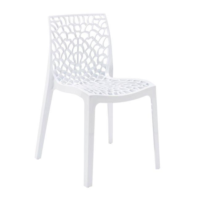 RUE DU COMMERCE - Chaise Blanche GRUVYER -S6316B Vendu à l'unité
