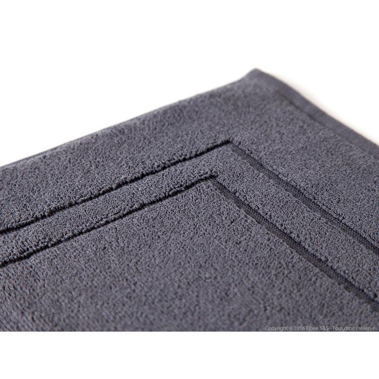 Tapis de bain ultra absorbant coton et modal 900gr/m2 encadrement ciselé 50x80cm Elise - Anthracite
