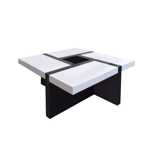 Table Basse Carre Bois Noir Blanc Design Contemporain Salon Sejour