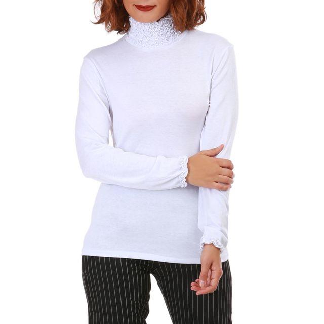 854a438c4c0 Lamodeuse - Sous pull blanc à col roulé froncé - pas cher Achat ...