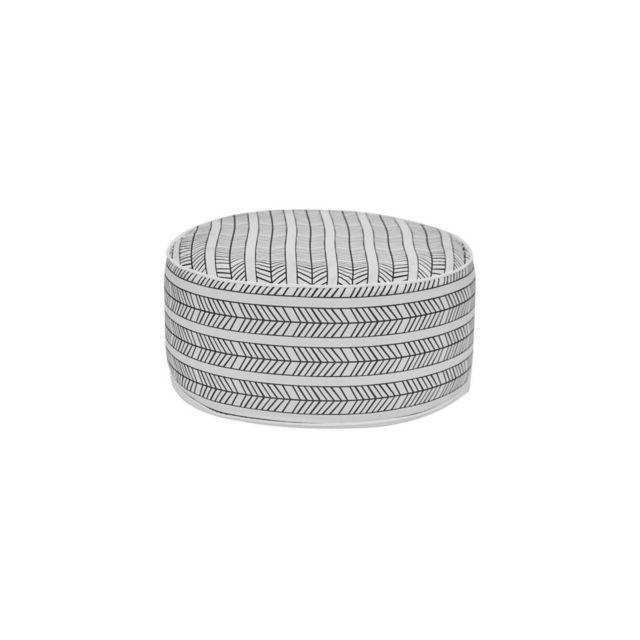 Bocarnea Pouf Gonflable - Assise 53 Cm - Revetement Spun Polyester 200 Mg - Motif Ethnique Noir Et Blanc